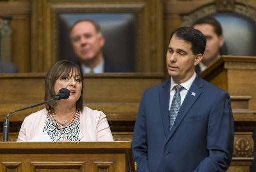 First lady Tonnette Walker addresses a joint session of the Legislature during Gov. Scott Walker's state of state speech in the Assembly chambers at the state Capitol on Tuesday, Jan. 10, 2017, in Madison, Wis. (AP Photo/Andy Manis)