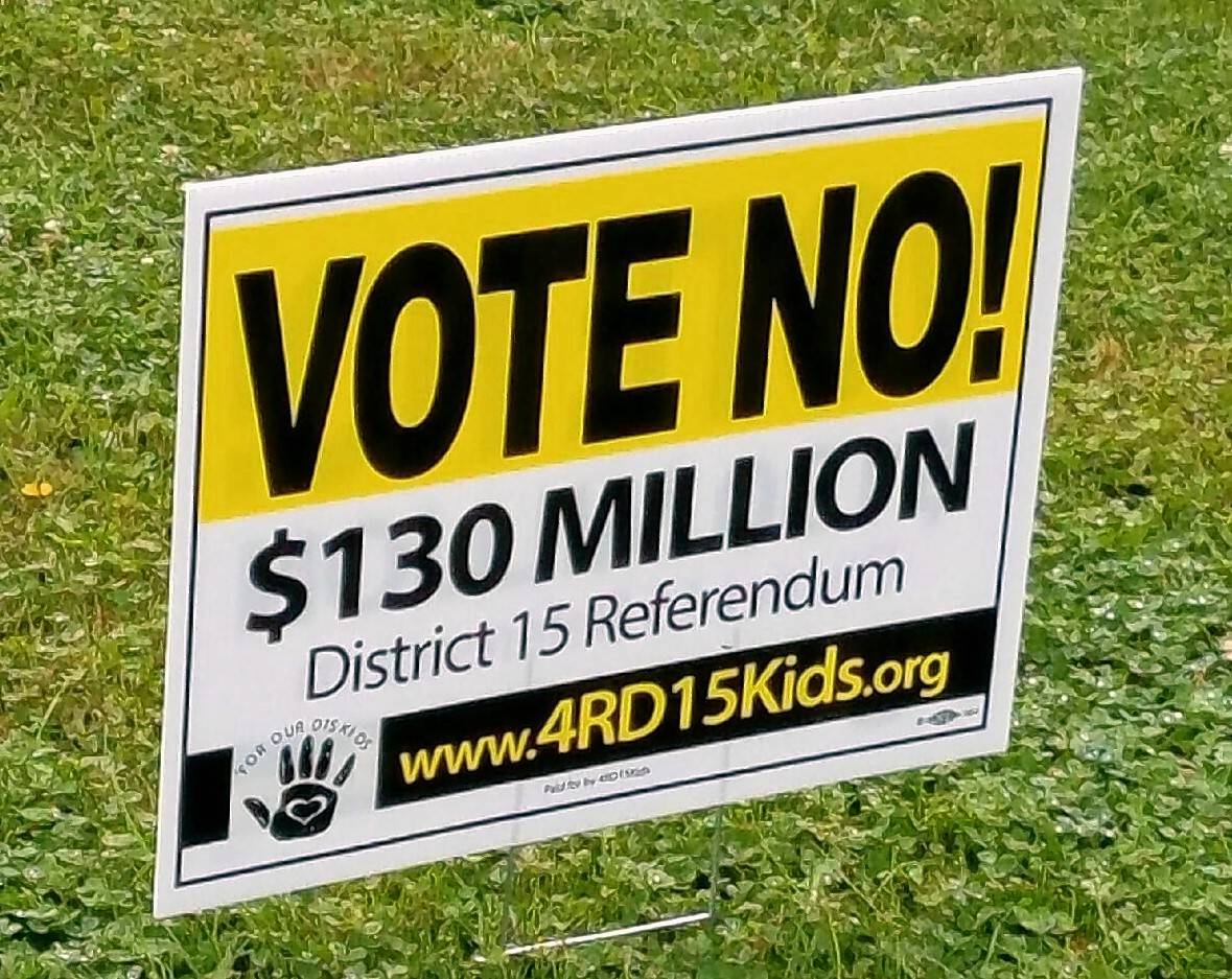 A $130 million bond issue to build two new schools in Palatine Elementary District 15 was defeated by a big margin in November. Opponents campaigned vigorously against it.