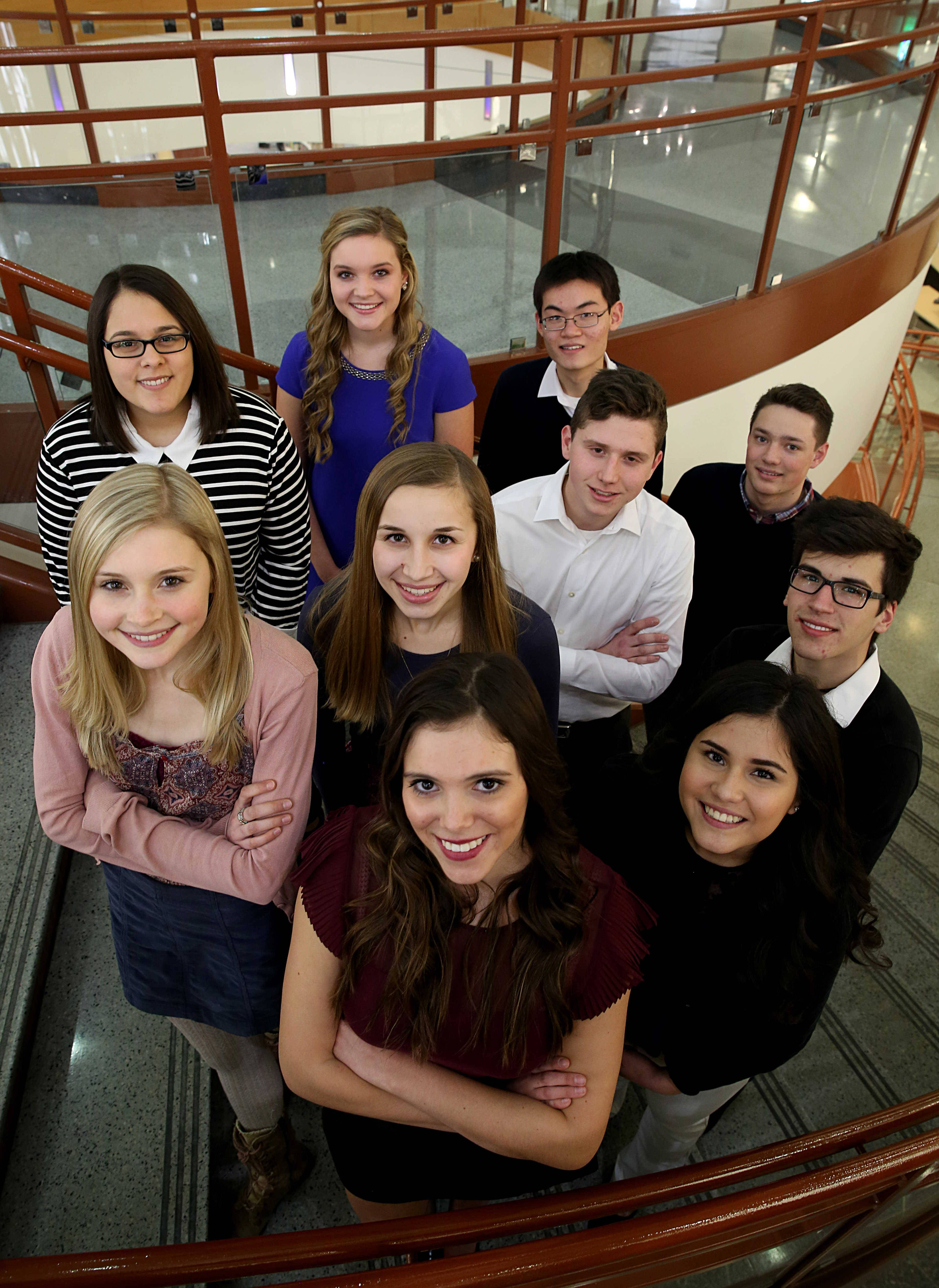 The Daily Herald's Fox Valley Leadership Team includes, top row from left, Jessica Freese, Hampshire High School; Claire Miller, St. Charles North High School; and William Tong of Illinois Math and Science Academy; middle row, from left, Grace Keegan of Geneva High School; Kristi Isola of Cary-Grove High School; Peter Williams of Harvest Christian Academy; and Jacob Fiedler of Marian Central High School; and bottom row from left, Ivana Dulanto of Cary-Grove High School; Maria Morales of Elgin High School; and Henry Feldhaus of Aurora Central Catholic High School.