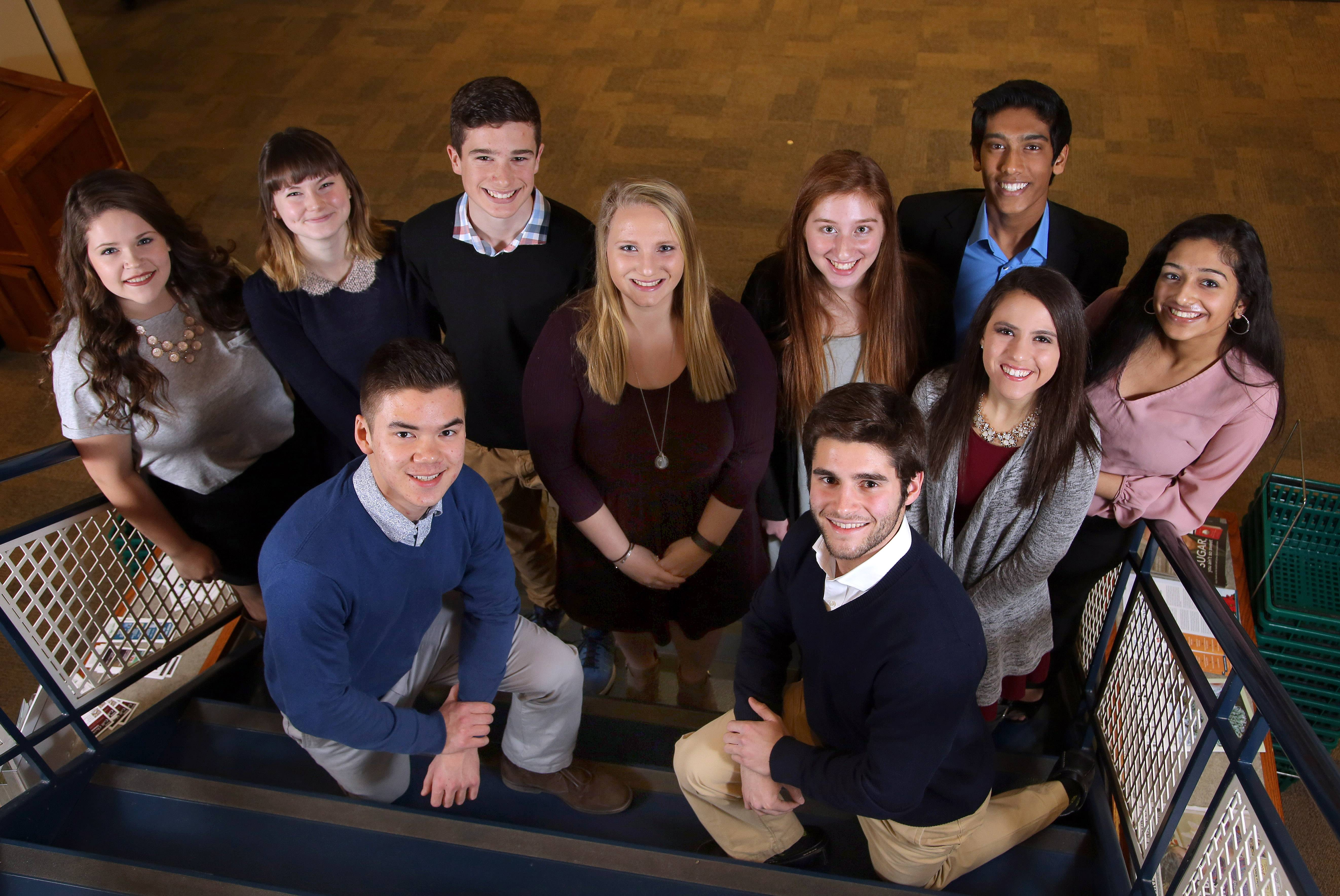 The Daily Herald's Lake County Leadership Team includes, kneeling from left, Nathan Metz, Warren Township High School; Mario Giannini, Grayslake Central High School; and standing from left, Ashley Schenk, Round Lake High School; Nikol Safronova, Adlai E. Stevenson High School; Jack Gelinas, Lake Zurich High School; Maddie Johnson, Lakes Community High School; Gracie Bouker, Antioch Community High School; Aakash Setty, Vernon Hills High School; Adriana Feijoo, Mundelein High School; and Aparajitha Adiraju, Vernon Hills High School.