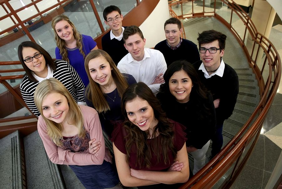 Daily Herald Leadership Team members from the Fox Valley pose for their portrait at Gail Borden Library in Elgin. Top row, from left: Jessica Freese of Hampshire High School, Claire Miller of St. Charles North, and William Tong of IMSA. Middle row, from left: Grace Keegan of Geneva, Kristi Isola of Cary-Grove, Peter Williams of Harvest Christian, and Jacob Fiedler of Marian Central. Bottom row, from left: Ivana Dulanto of Cary-Grove, Maria Morales of Elgin, and Henry Feldhaus of Aurora Central Catholic.