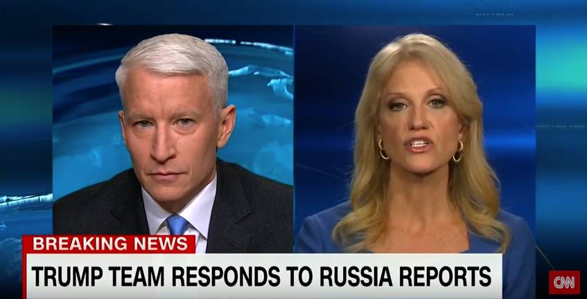 CNN's Anderson Cooper and Donald Trump spokesperson Kellyanne Conway clash over the network's reporting of classified documents related to Trump and Russia.