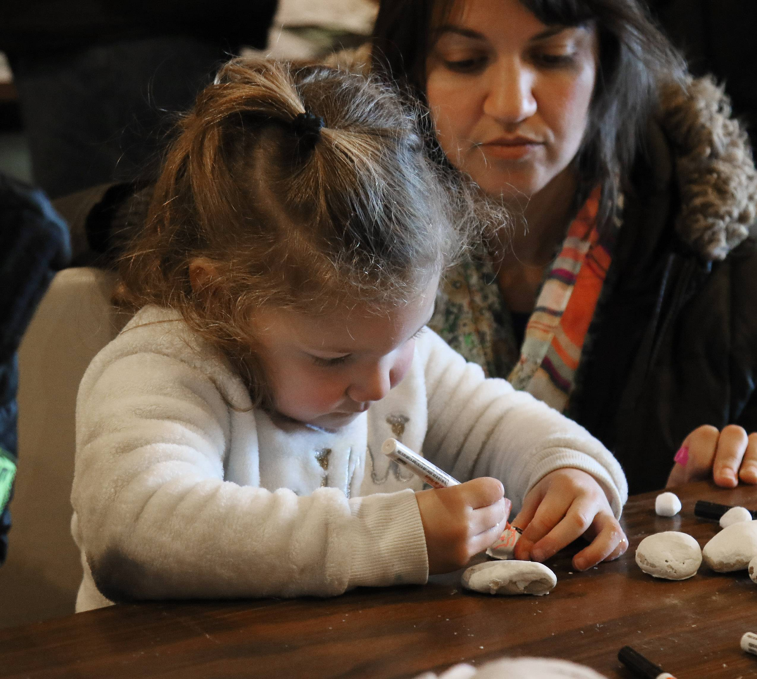 Harper Linane, 3, of Fox Lake makes a snowman from small white rocks with her mother, Ali, during Sunday's WinterFest at Volo Bog State Natural Area in Ingleside. The annual event featured tours of the bog, live music, a photo contest, winter-themed crafts and food.