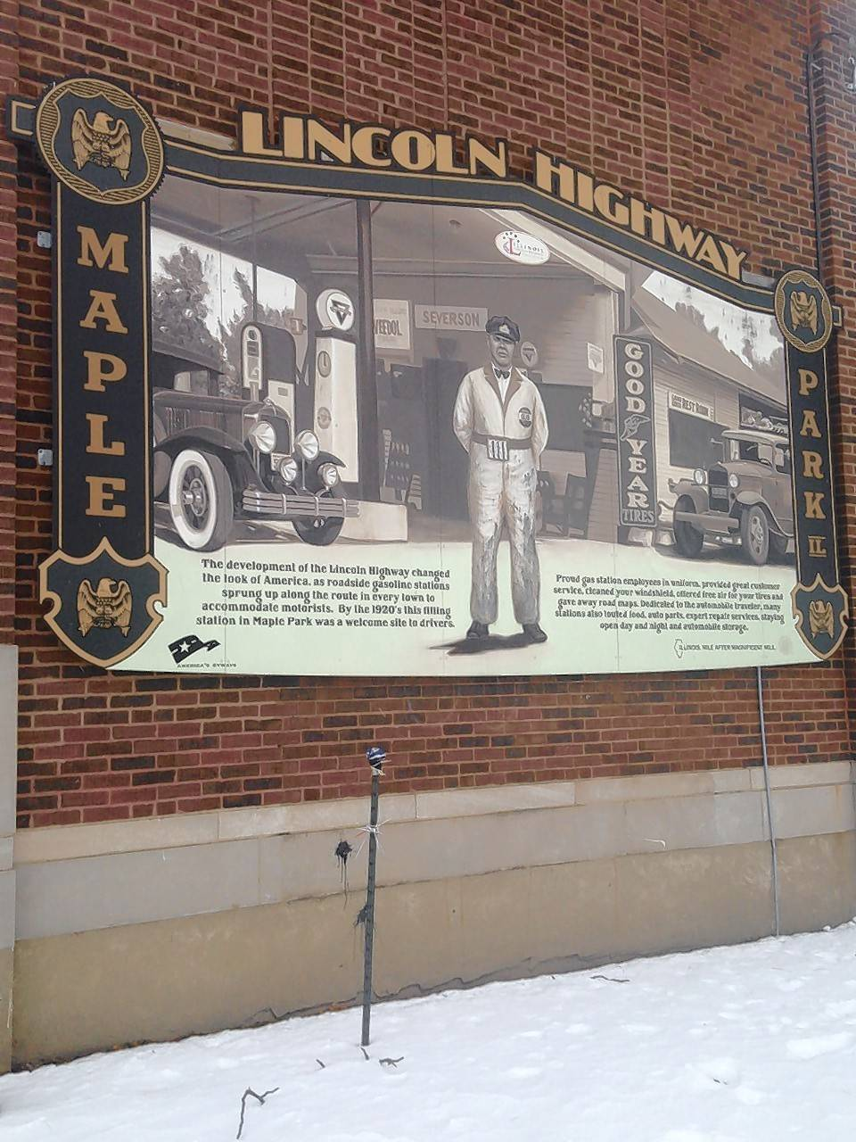 An neat old photo covering the side of Maple Park's village hall explains the significance of Maple Park in the 1920s. Located along the popular and well-traveled Lincoln Highway, Maple Park and its full service gas station was a busy oasis for motorists.