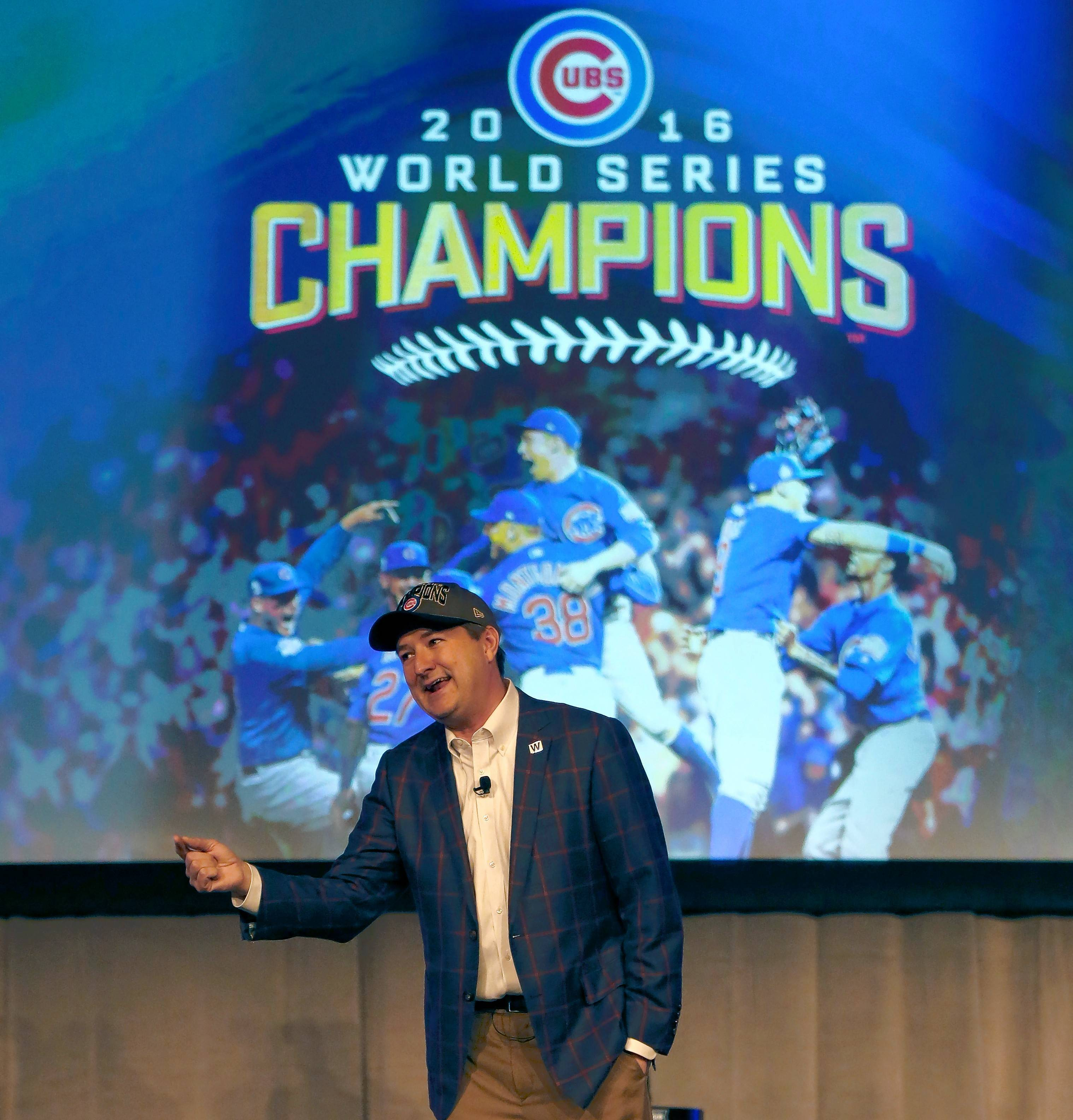 With the World Series champs in the house, Chicago Cubs chairman Tom Ricketts had no trouble revving up the crowd at the team's annual fan convention this weekend.