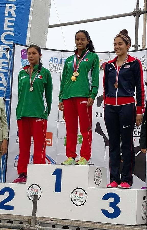 Courtesy of NACACAnali Cisneros of Elgin, right, took the bronze medal in the North American, Central American and Caribbean Championships Under 20 category at the 2015 Pan American Race Walking Cup in Arica, Chile. It was her first international medal.