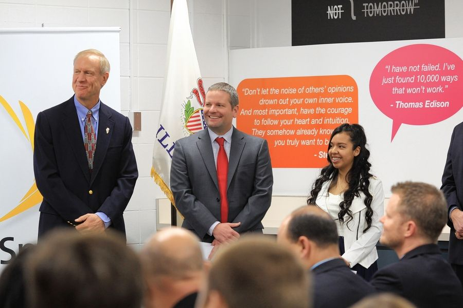 Northwest Suburban High School District 214 Superintendent David Schuler, middle, hopes Gov. Bruce Rauner and the state board of education will sign off on a set of standards that Schuler has proposed to define college and career readiness.