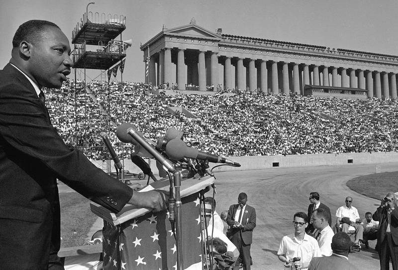 Martin Luther King addresses a crowd estimated at 70,000 at a civil-