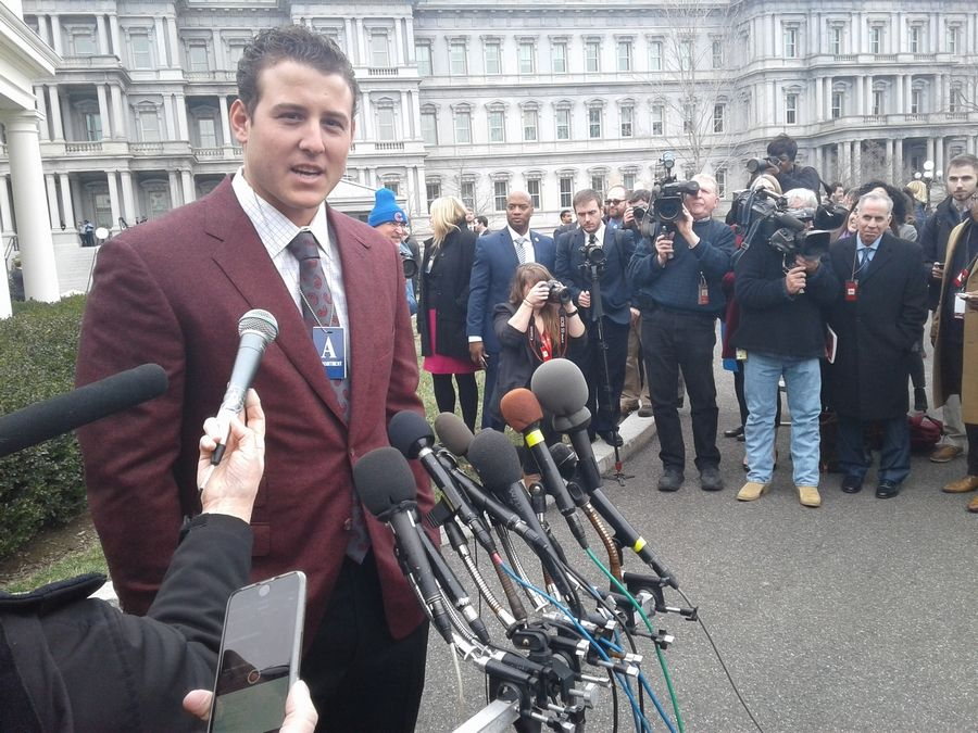 Cubs first baseman Anthony Rizzo talks to the media outside of the White House on Monday, January 16.