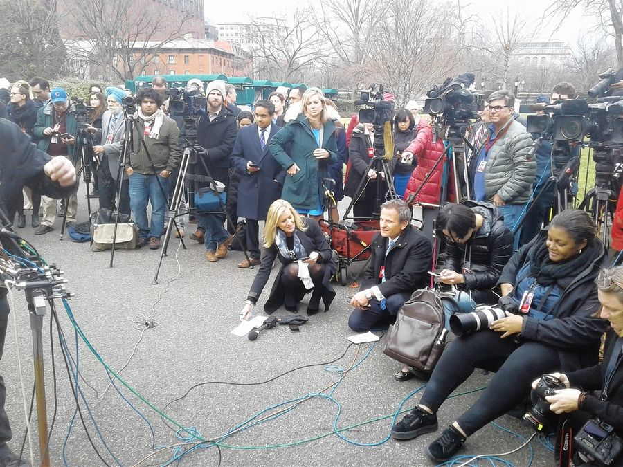 This media throng was preparing to meet Cubs manager Joe Maddon, first baseman Anthony Rizzo and team president Theo Epstein after they took part in President Obama's ceremony inside the White House on Monday honoring the Chicago Cubs.