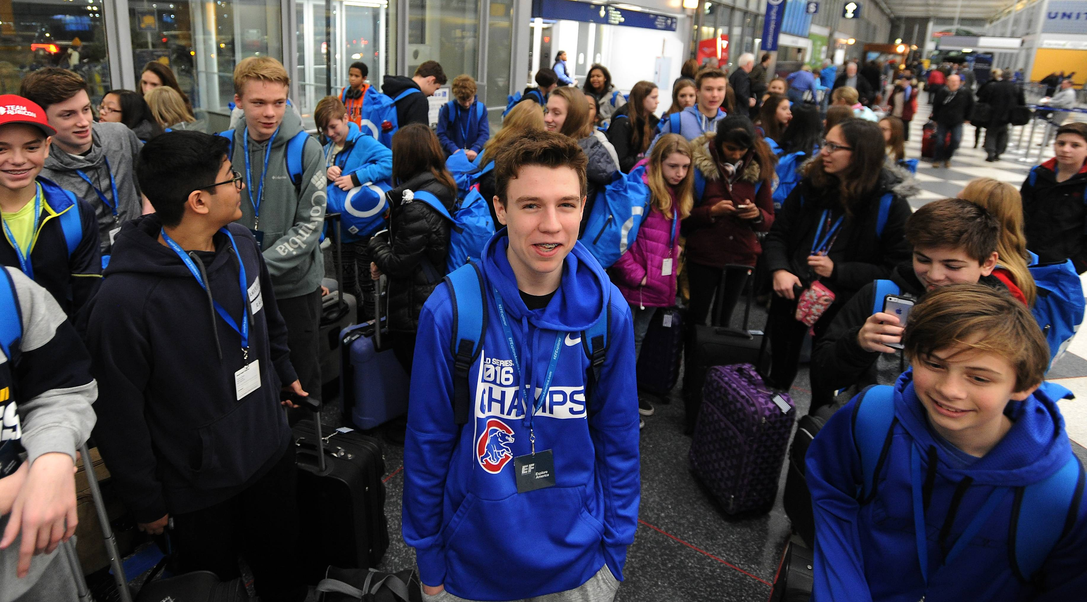 Gavin Boos, 14, of Bernotas Middle School, is among about 160 students from Crystal Lake ready to board a plane Wednesday for the presidential inauguration Friday in Washington, D.C.