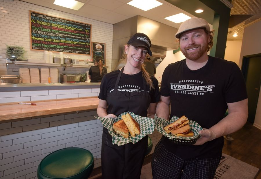 Husband-and-wife team Brian and Kelly Herkert feature grilled cheese sandwiches at Everdine's Grilled Cheese Co., 24 W. Jefferson Ave. in downtown Naperville.