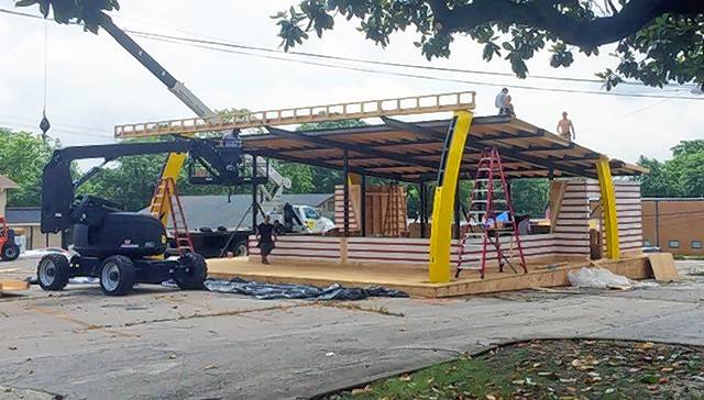"Movie crews construct a replica of Ray Kroc's original Des Plaines McDonald's restaurant for the movie ""The Founder."""