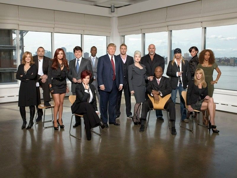 "Former Gov. Rod Blagojevich stands fourth from left, next to President-elect Donald Trump, in a publicity shot for ""Celebrity Apprentice"" in 2010."