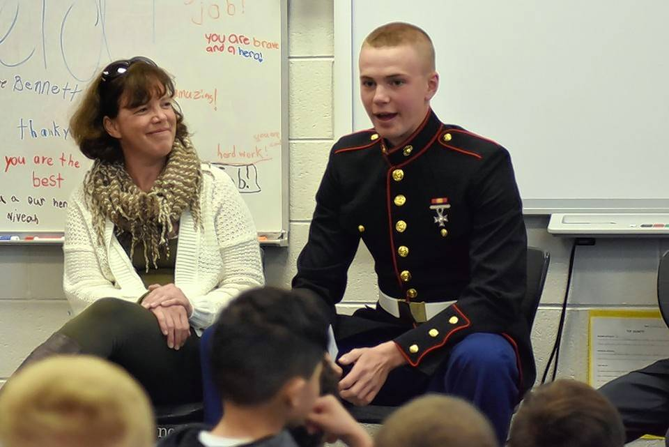 Reid Luczak, with mom Laurie looking on, describes life as a U.S. Marine Corps recruit at boot camp.