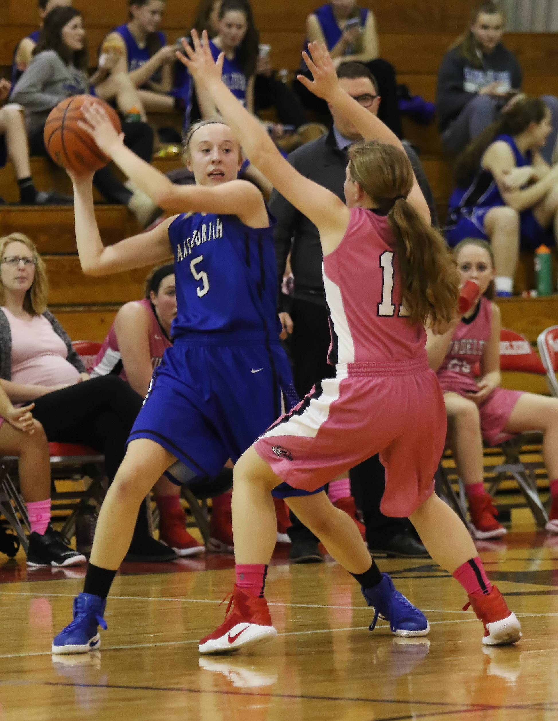 Lake Zurich guard Ella Gilbertson passes the ball during the girls high school basketball game between Lake Zurich vs. Mundelein at Mundelein High School on Thursday.