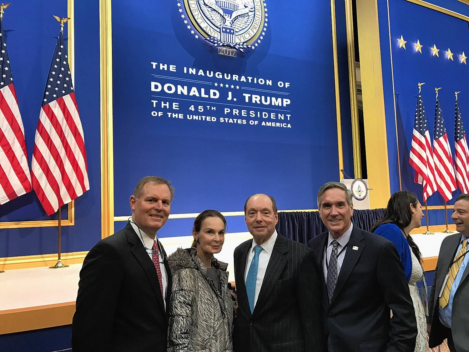 From left, Republican National Committeeman Richard Porter of Winnetka, Christina and Ron Gidwitz of Chicago and Illinois GOP Chairman Tim Schneider of Bartlett posed for a photo at an inauguration reception in Washington.