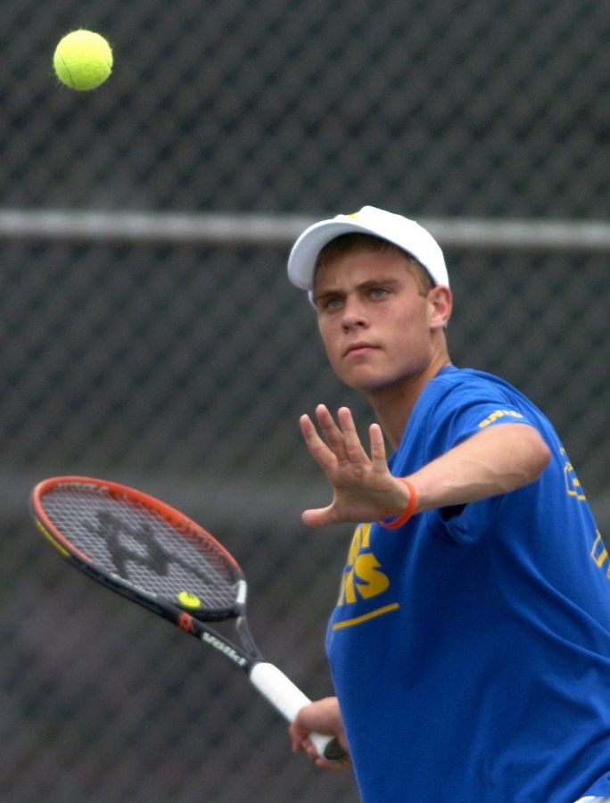 Dennis Nevolo competes for Warren during the high school boys tennis state touranment at Hersey.
