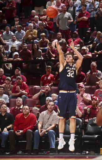 Notre Dame guard Steve Vasturia (32) makes a three-point basket late in the second half of an NCAA college basketball game against Notre Dame on Wednesday, Jan. 18, 2017, in Tallahassee, Fla. Florida State won 83-80. (AP Photo/Phil Sears)