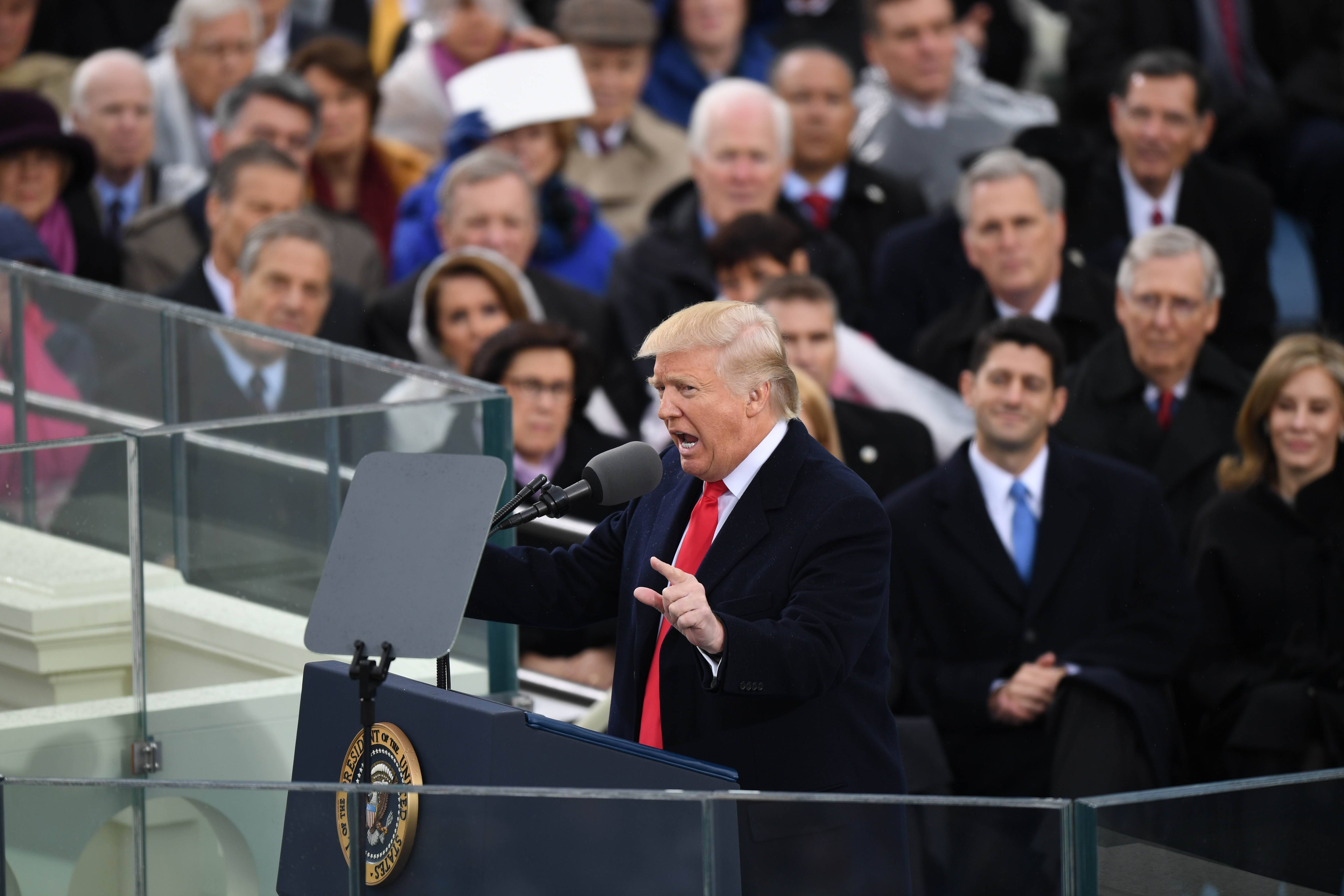 President Trump delivers his inaugural address.
