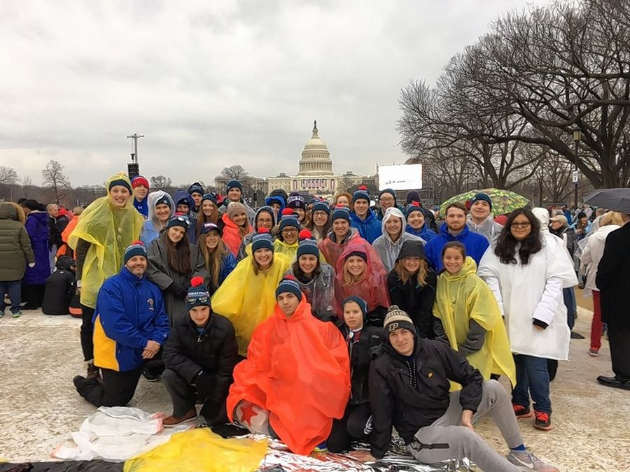A group of 33 students, two teachers and an administrator from Wheaton North High School find a spot in front of the U.S. Capitol building Friday to witness the inauguration of Donald J. Trump as the nation's 45th president.