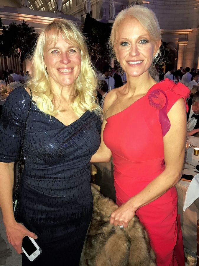 "Lydia Marti of Winnetka stands with former Trump campaign manager, and new counselor to the president, Kellyanne Conway at the Candelight Dinner in Washington Thursday evening. Marti and husband Richard Portwer of Winnetka described Conway as ""our longtime friend."""