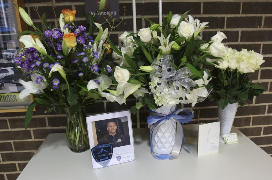A memorial for Bloomingdale police officer Raymond Murrell, who was killed in a one-car crash on Thursday night.