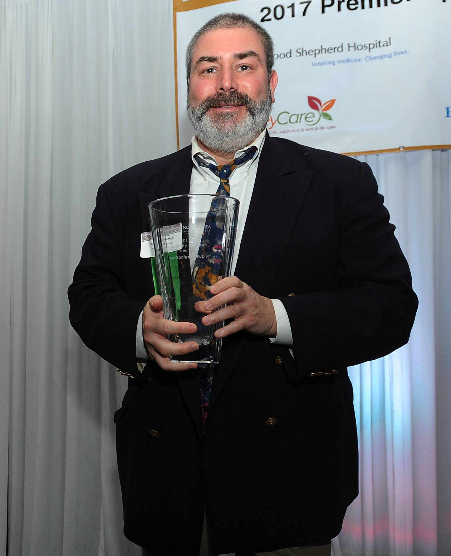 Mark Welsh/mwelsh@dailyherald.comBryan McGonigal of McGonigal's Pub won the BACC Hospitality of the Year Award at the Barrington Area Chamber of Commerce Annual Dinner and Scholarship Fundraiser on Thursday.
