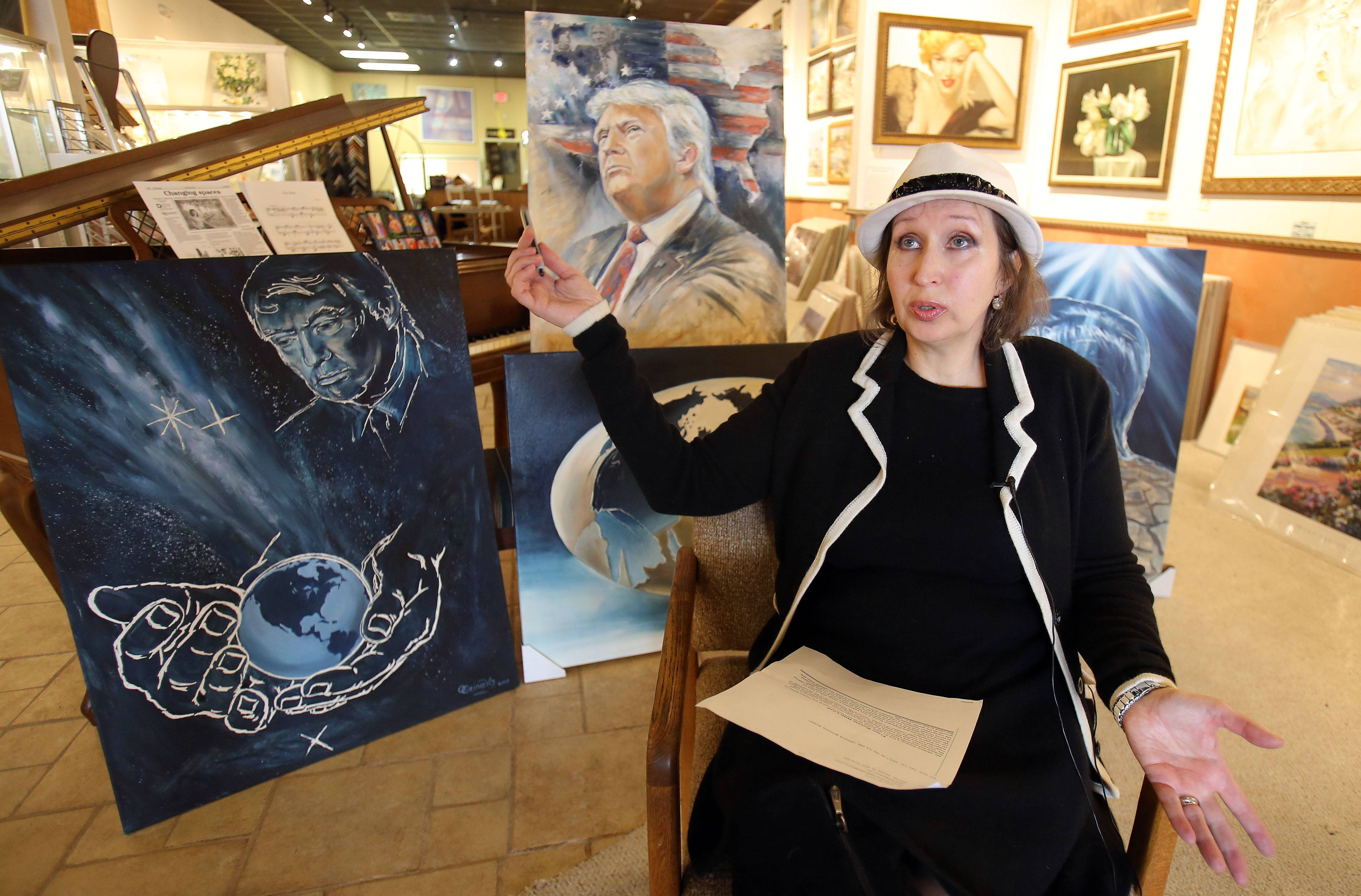 Lake Zurich artist Oksana Grineva says she feels compelled to paint tributes to Donald Trump.