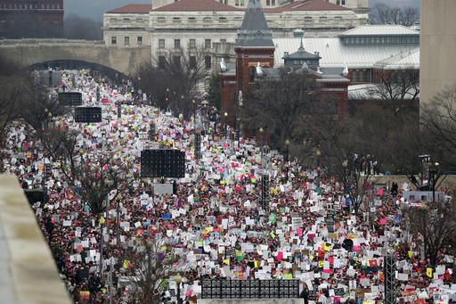A crowd fills Independence Avenue during the Women's March on Washington, Saturday, Jan. 21, 2017 in Washington.