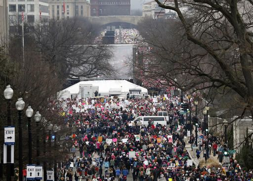 A crowd fills Independence Avenue during the Women's March on Washington, Saturday, Jan. 21, 2017 in Washington. Thousands of women massed in the nation's capital and cities around the globe Saturday to send Donald Trump an emphatic message that they won't let his agenda go unchallenged over the next four years.