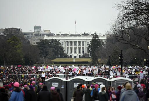 Demonstrators attend the Women's March on Washington on Saturday, Jan. 21, 2017 in Washington.