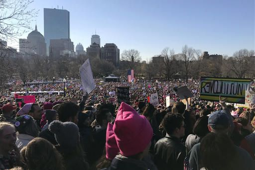 Protesters gather at Boston Common during a Women's March Saturday Jan. 21, 2017 in Boston. The march is being held in solidarity with similar events taking place in Washington and around the nation.