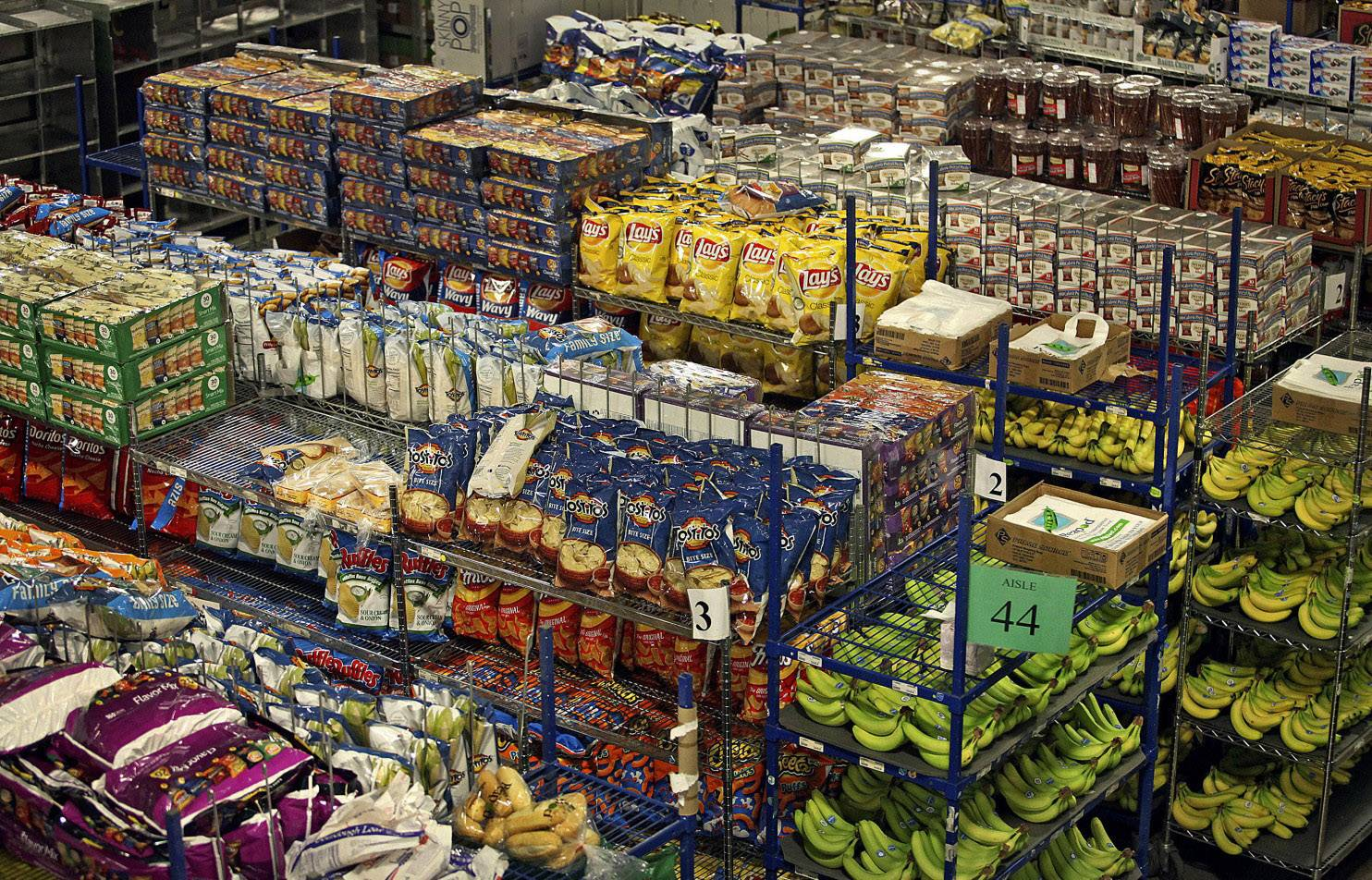 Various food items sit on shelves at one of Peapod's online distribution facility in Lake Zurich.