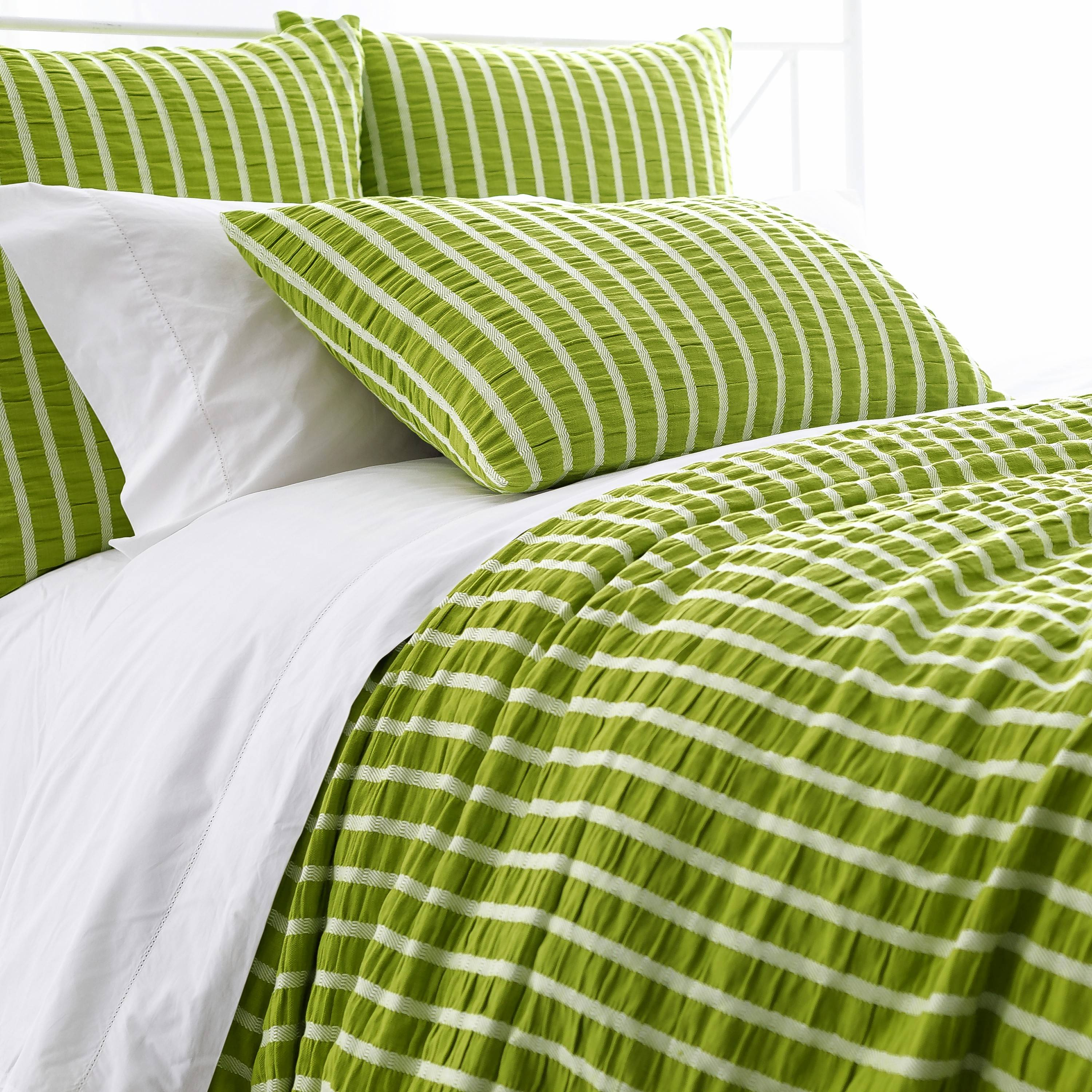 The Parker Green Duvet's preppy white stripes are a fun touch. It costs between $194 and $262, depending on bed size.