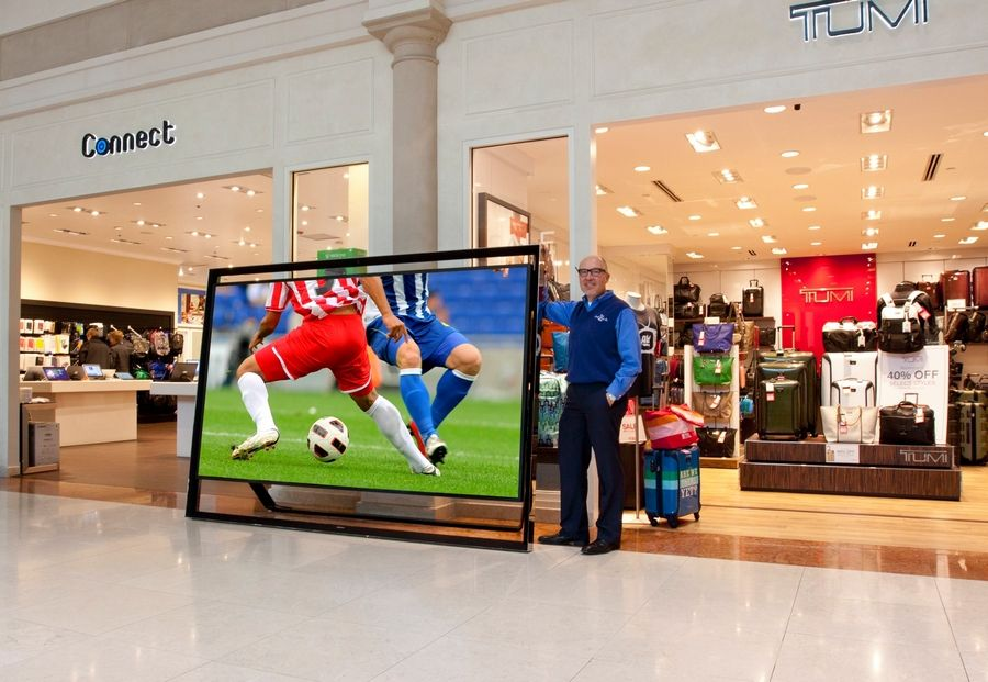 A sales associate at Glenview-based Abt Electronics showed off this Samsung 110-inch HDTV that weighs 304 pounds. The price tag was just as hefty at $150,000 in this file photo from 2014.