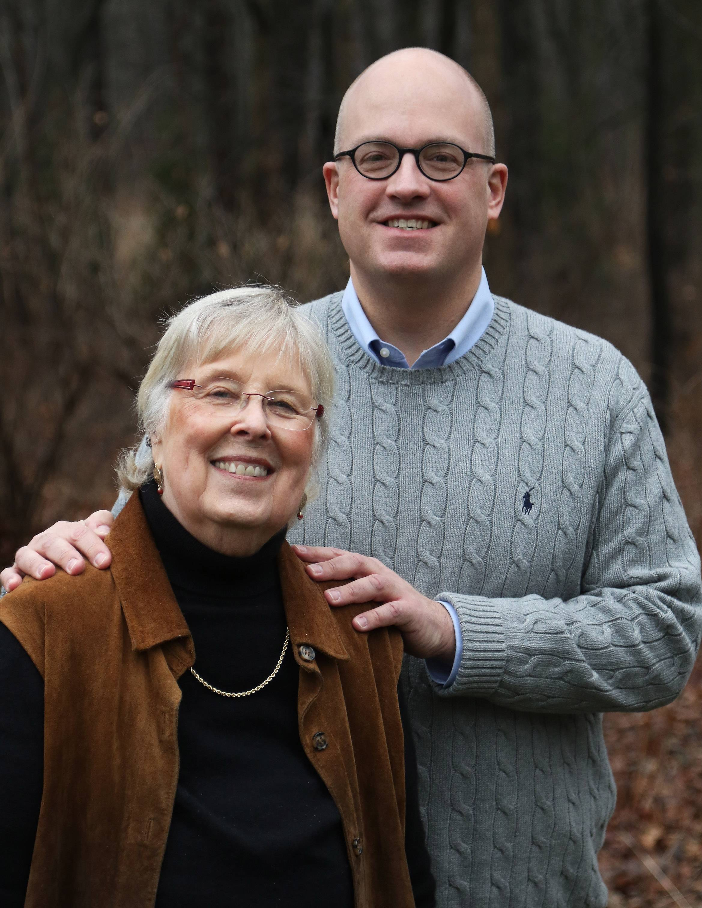 Jonathan Moore visits with his mother, former Lake County Democratic Chairwoman Betty Ann Moore, in her Libertyville home. A 27-year diplomat, Jonathan is stationed in Bosnia and Herzegovina to help oversee the peace process there.