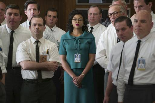 "This image released by Twentieth Century Fox shows Taraji P. Henson as Katherine Johnson, center, in a scene from ""Hidden Figures.""  Henson failed to receive an Oscar nomination, Tuesday, Jan. 24, 2017, for her role in the film. (Hopper Stone/Twentieth Century Fox via AP)"