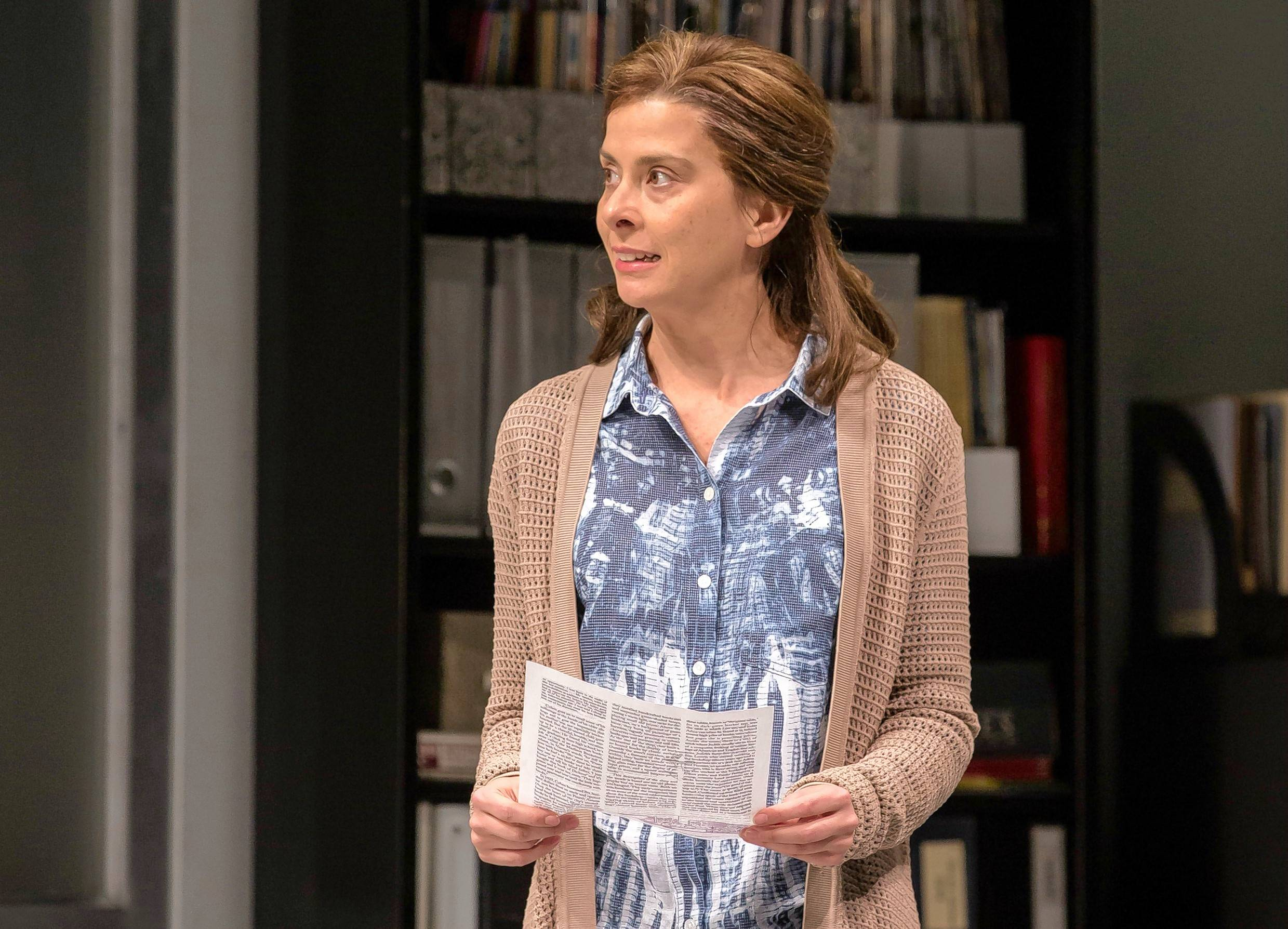 "Jeanine Serralles plays the titular character in The Vineyard Theatre's production of ""Gloria,"" a 2016 Pulitzer Prize finalist by Branden Jacobs-Jenkins. Goodman Theatre remounts The Vineyard's off-Broadway production."