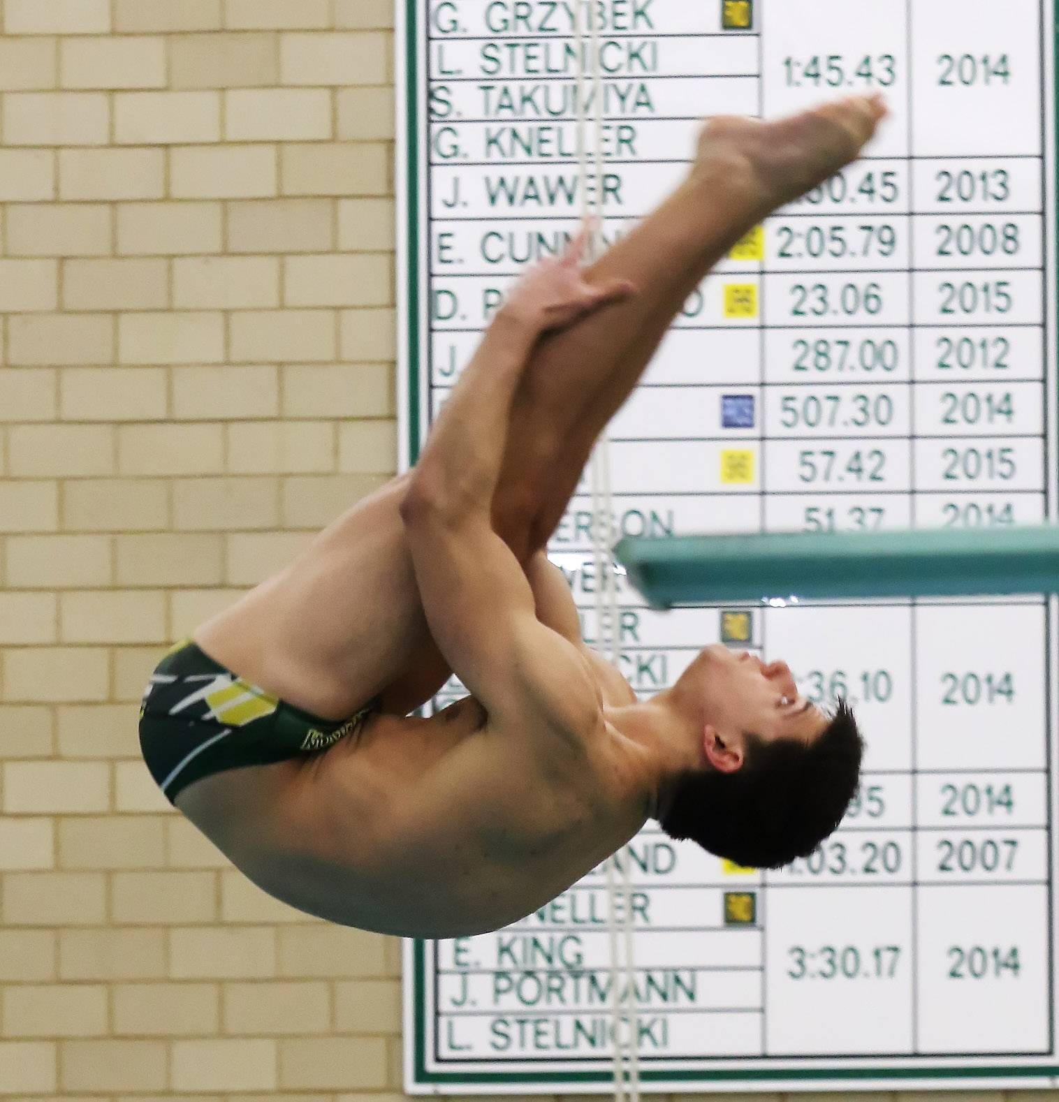 Stevenson diver Matthew Krames heads for victory with a 6-dive team record score of 307.10 on Thursday against visiting Waukegan.