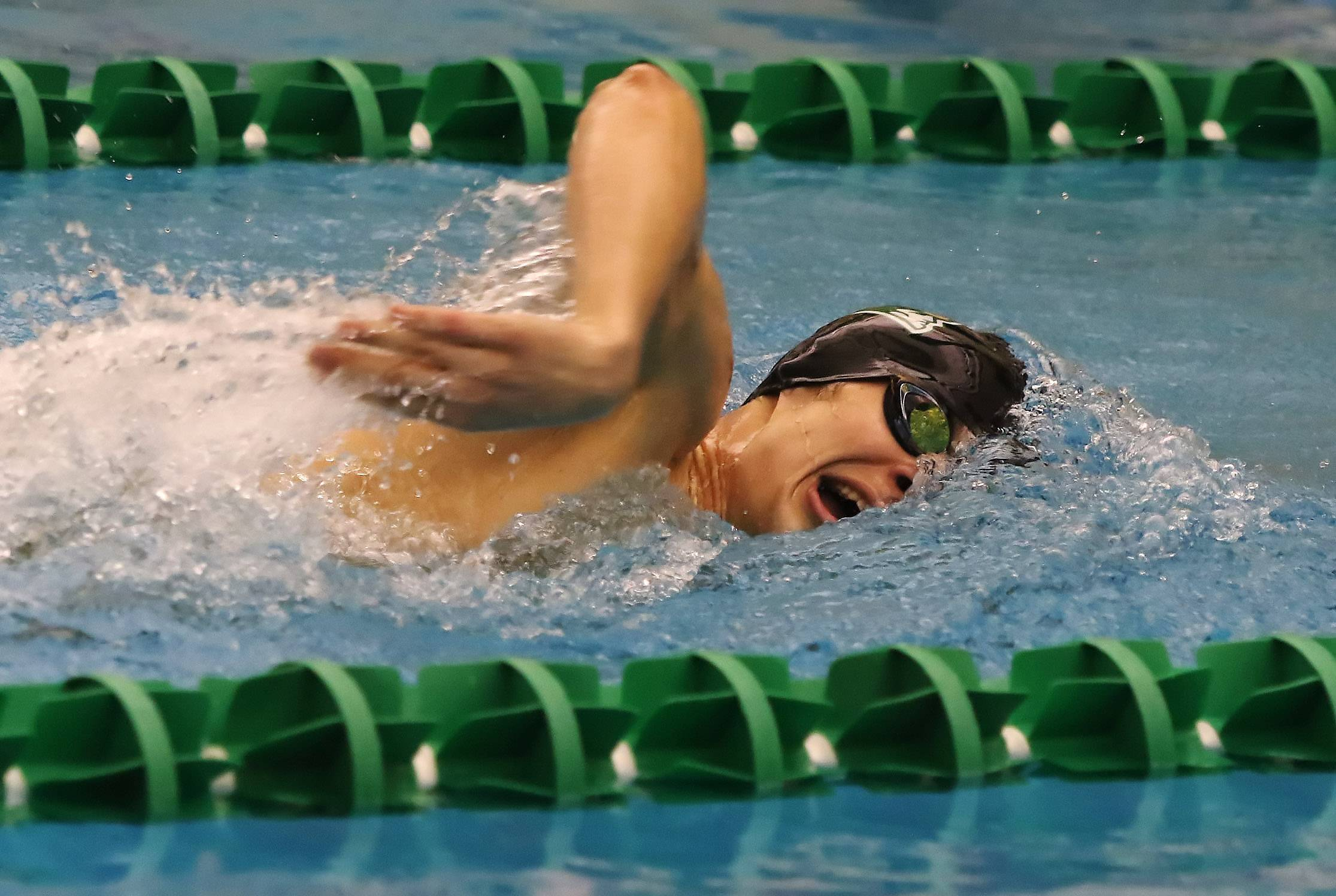 Stevenson swimmer Daniel Mikrut competes in the 200-yard freestyle during Thursday's meet against Waukegan.
