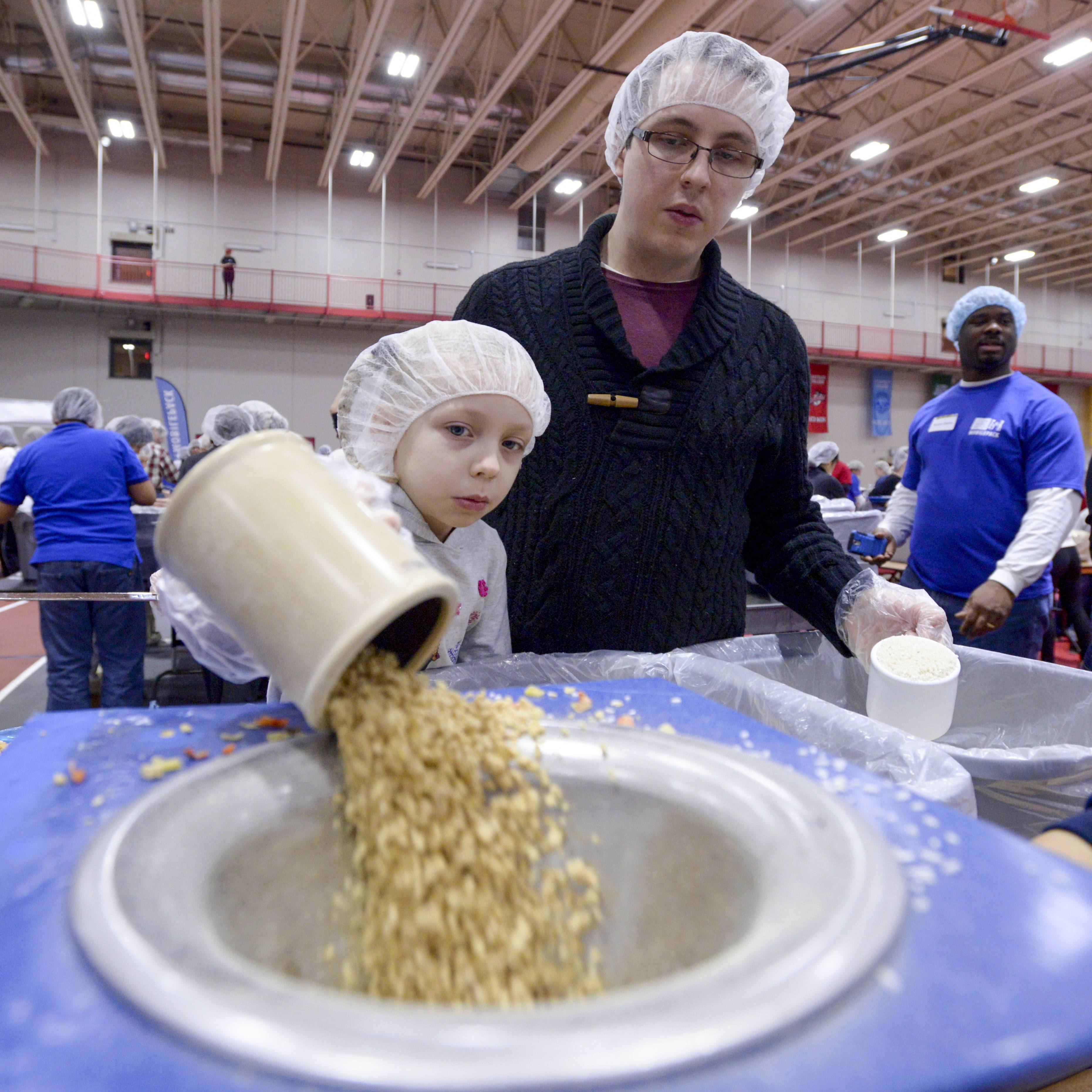 About 5,000 volunteers are expected to pack 1.2 million Manna Pack meals of nutrient powder, rice and dehydrated vegetables for Feed My Starving Children to distribute in poor countries during the eighth annual Feed the Need! Illinois event Feb. 18 and 19 in Naperville.