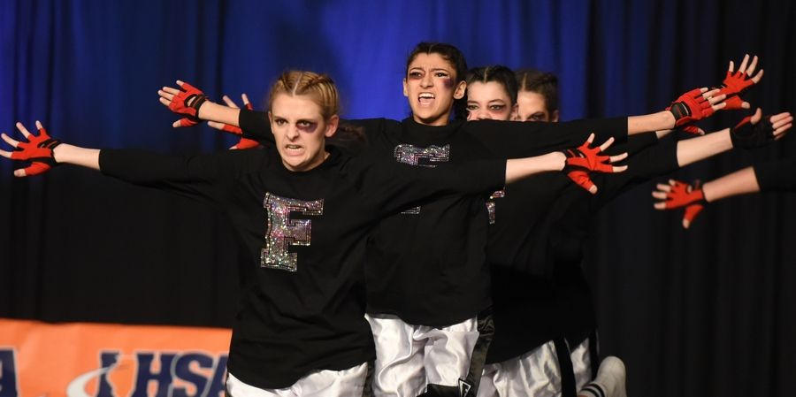 Fenton High School performs Saturday during the Competitive Dance finals at U.S. Cellular Coliseum in Bloomington.
