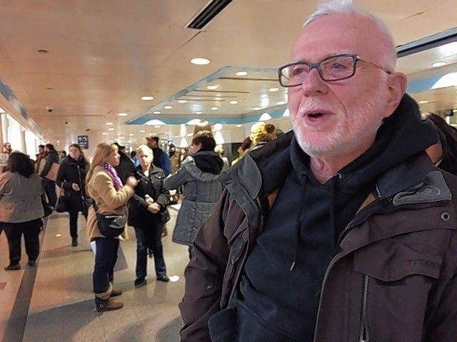 "Ron Coppel of Schaumburg said memories of his Jewish parents who survived Nazi Germany drew him to the protests late Saturday at O'Hare International Airport. ""I had to come down. I couldn't sit on the couch,"" he said."