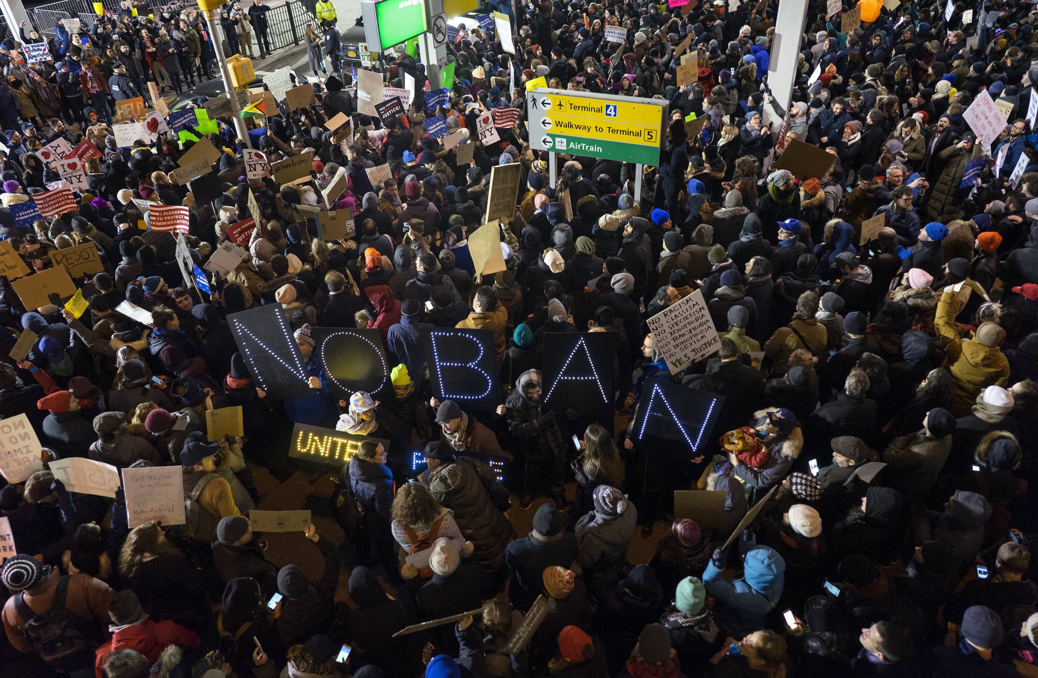 Protesters assemble Saturday at John F. Kennedy International Airport in New York. On Friday, Jan. 27, President Donald Trump signed an executive order suspending all immigration from countries with terrorism concerns for 90 days. Countries included in the ban are Iraq, Syria, Iran, Sudan, Libya, Somalia and Yemen, which are all Muslim-majority nations.