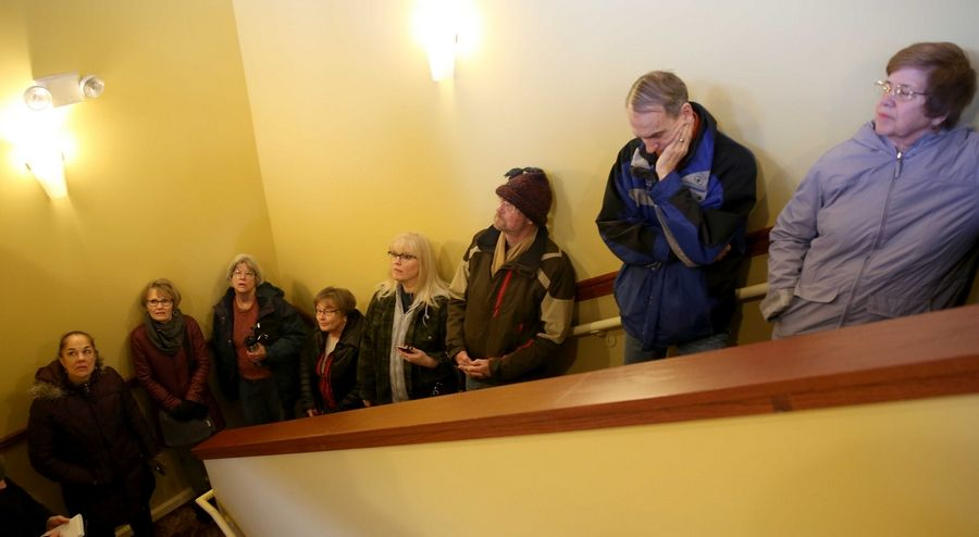 A group of several dozen constituents visited congressman Randy Hultgren's Campton Hills office Tuesday afternoon to express their feelings on President Donald Trump and his administration. The crowd departed as two people were agreed upon to enter the office and represent the thoughts of the group.