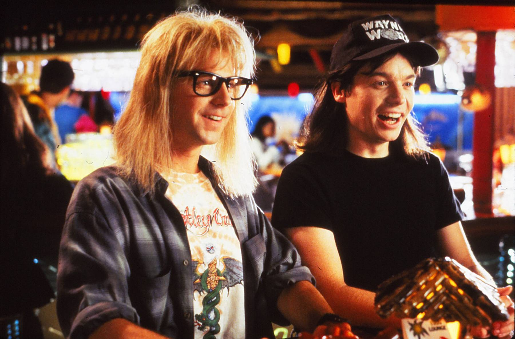 Dana Carvey Mike Myers and Meat Loaf in Waynes World