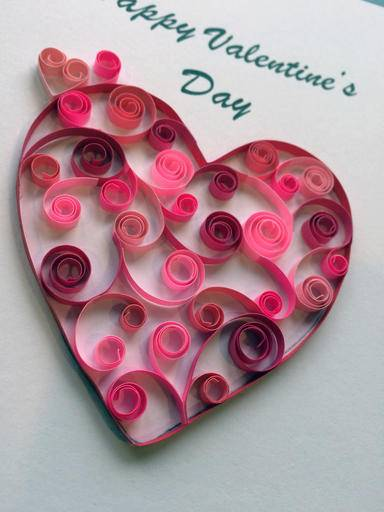 Quilling paper craft lends elegance to valentine 39 s cards for Image craft greeting cards