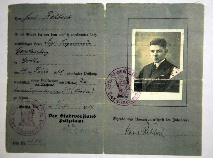Ralph Rehbock saved his father Hans' German driver's license.