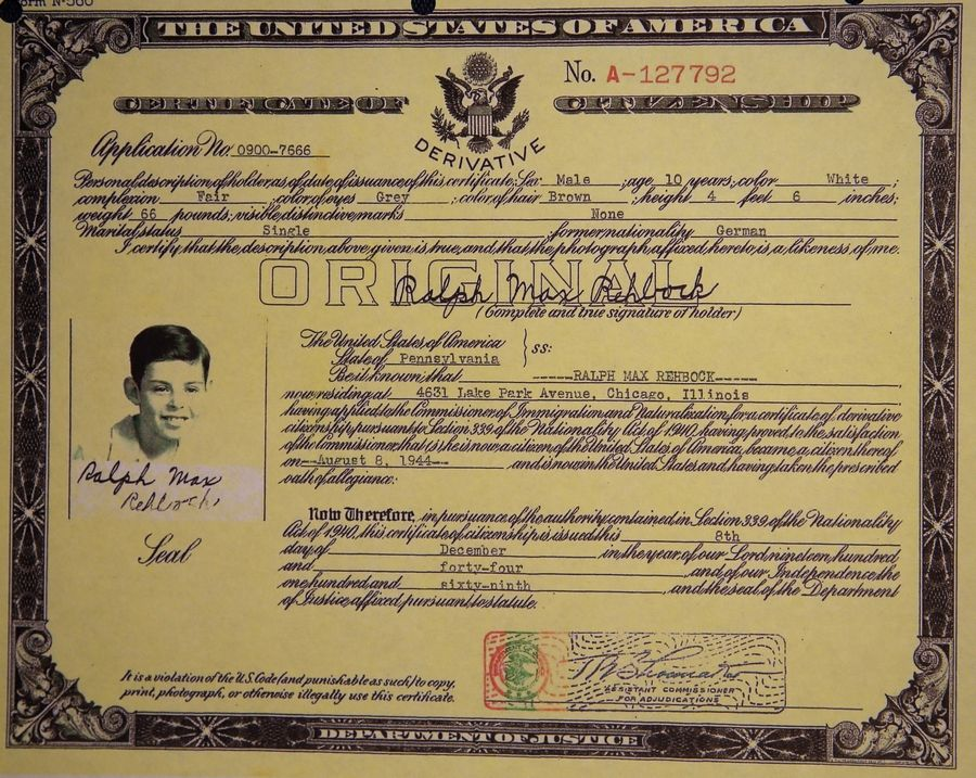 Ralph Rehbock became a U.S. citizen in 1944 at age 10.